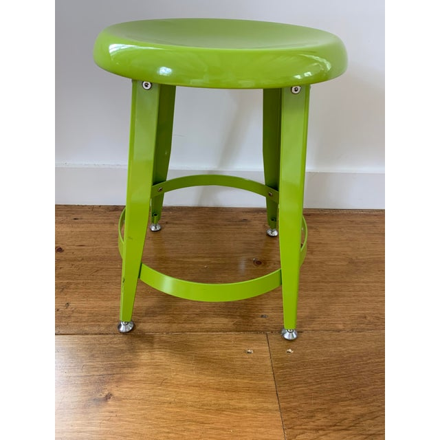 Contemporary Crate & Barrel Kid's Bright Green Metal Stools- Set of 4 For Sale - Image 3 of 7