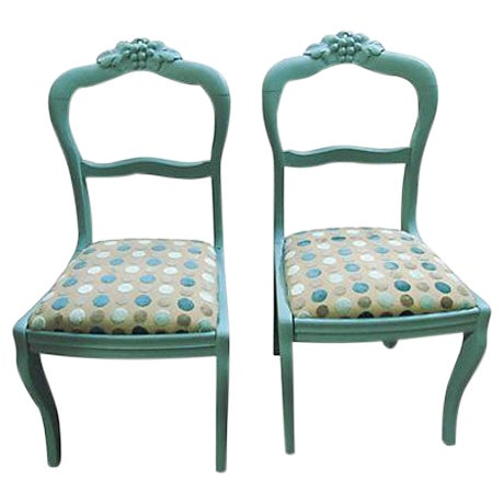 Antique Teal Carved Paris Dining Chairs - a Pair - Image 1 of 4