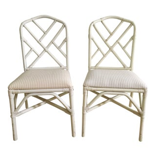 Vintage Chippendale Chinoiserie White Rattan Chairs - a Pair