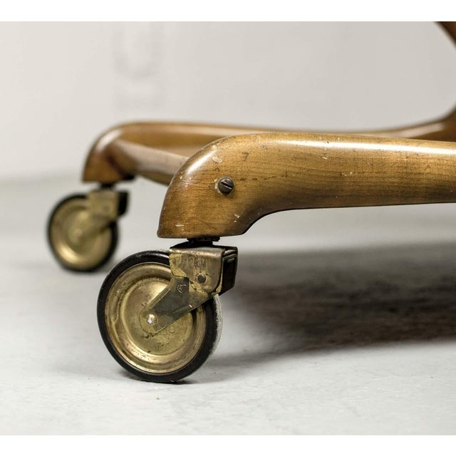Brass Mid-Century Italian Design Walnut Bar Trolley by Cesare Lacca for Cassina, 1950s For Sale - Image 7 of 11