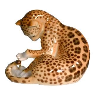1960s Lomonosov Russian Porcelain Factory Leopard Figurine For Sale