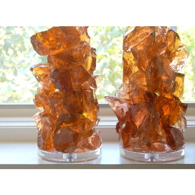 Contemporary Glass Rock Table Lamps by Swank Lighting Peach Tea - a Pair For Sale - Image 3 of 10