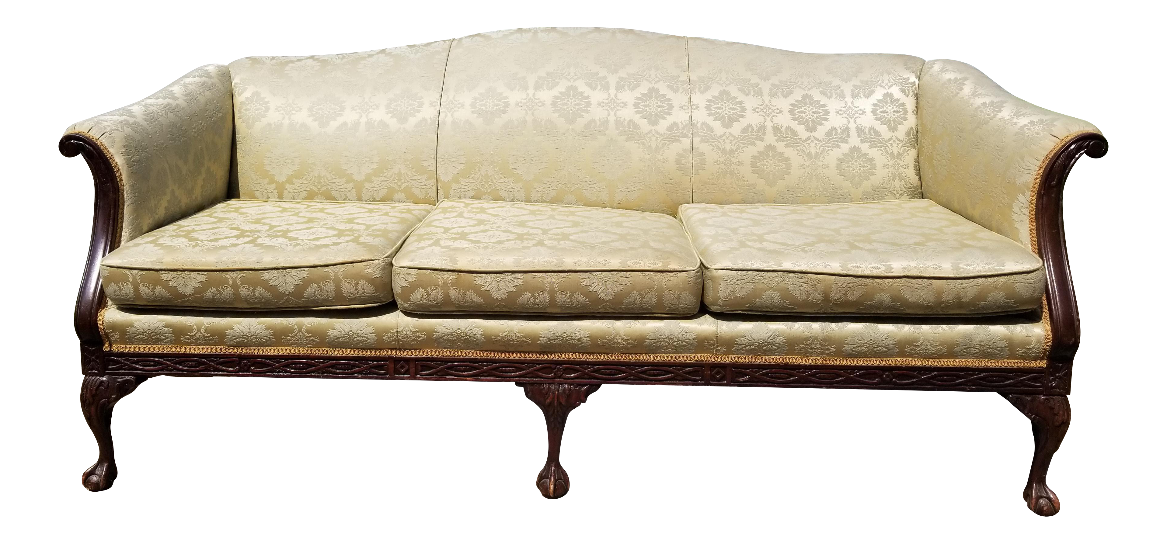 Ordinaire Antique Green And Gold Damask Brocade Carved Wood Sofa   Vintage Yellow  Couch