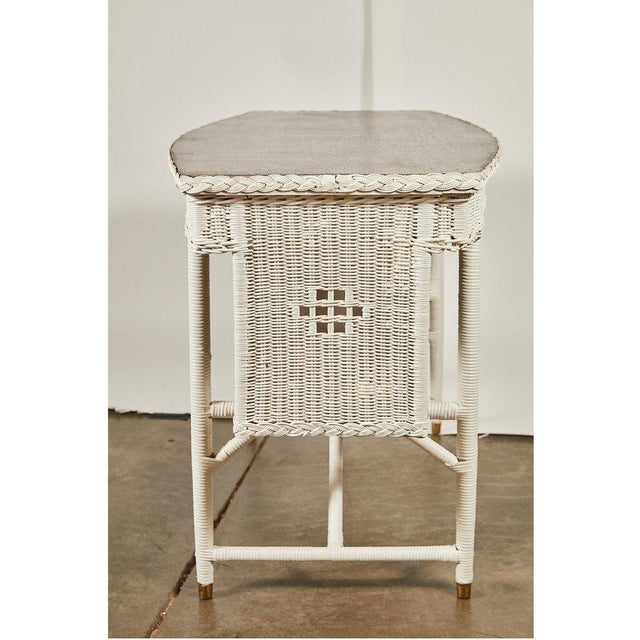 French 1920s White Wicker Table For Sale - Image 3 of 6