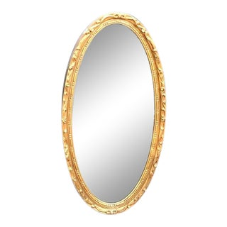 Hollywood Regency Oval Gold-Frame Wall Mirror For Sale