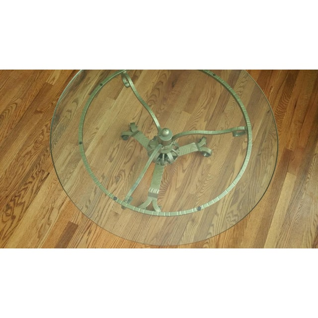 Hollywood Regency Gold Iron Base Round Glass Table - Image 4 of 6