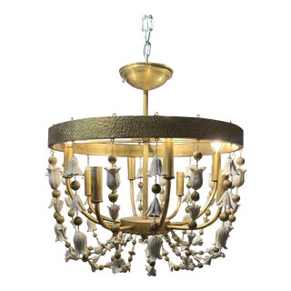 Hammered Brass Semi Flush Mount Chandelier With White Ceramic Flowers For Sale