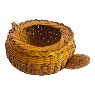 Vintage Wicker Turtle Basket For Sale