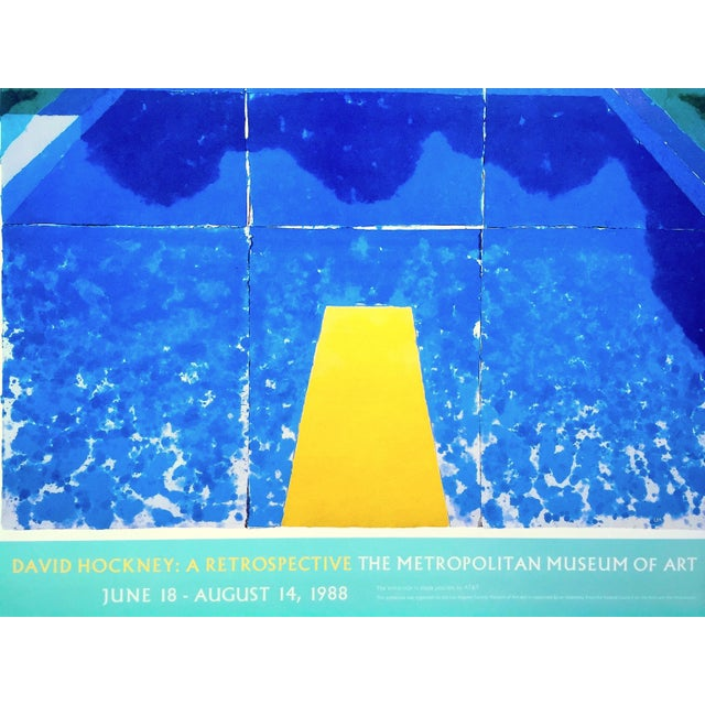 """1980s David Hockney Rare Vintage 1988 Iconic Lithograph Print Framed Exhibition Poster """" Day Pool With Three Blues """" 1978 For Sale - Image 5 of 13"""