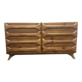 1960s Mid Century Sculpted Pine Lowboy Dresser by Franklin Shockey For Sale