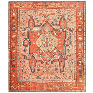 Room Size Antique Serapi Persian Rug - 9′1″ × 9′1″ For Sale