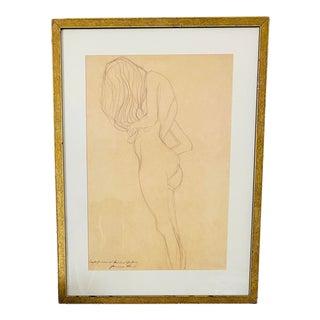 """Gustav Klimt """"Study of Female Nude"""" Fine Art Giclee Print Framed For Sale"""