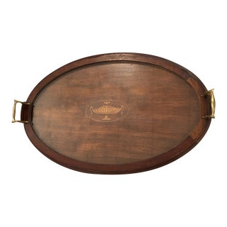 Antique English Holiday Wood Serving Tray For Sale