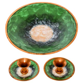 Enameled Copper Bowl & Candle Holders For Sale