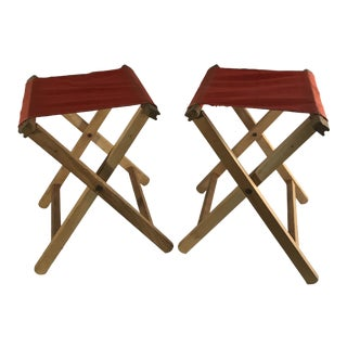 Vintage Orange Canvas Folding Camp Stools For Sale