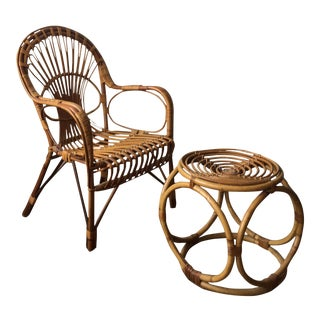 Vintage Rattan Chair & Ottoman - A Pair For Sale
