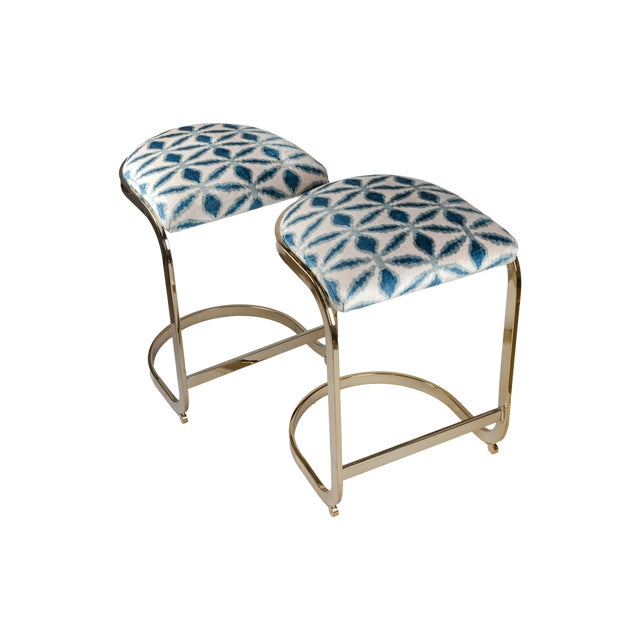 Stunning vintage Milo Baughman brass counter height stools with seat upholstered in silk velvet ikat from Uzbekistan. One...