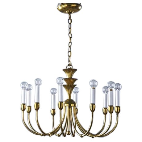 Mid-Century Modern Brass Chandelier in the Manner of Tommi Parzinger - Image 1 of 11