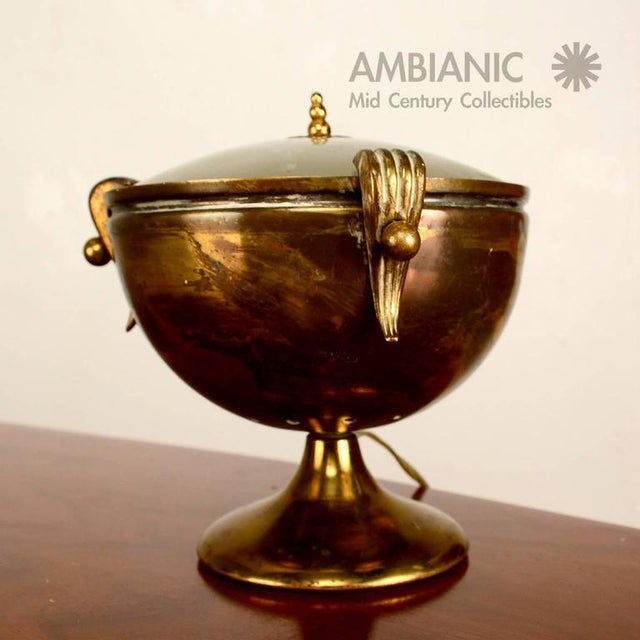 Traditional Brass & Glass Urn Table Lamp For Sale - Image 3 of 7