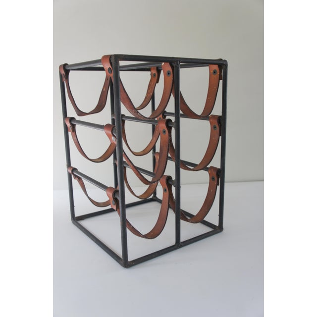 Mid-Century Modern Mid-Century Modern Arthur Umanoff Sculptural Wrought Iron and Leather Wine Rack For Sale - Image 3 of 13