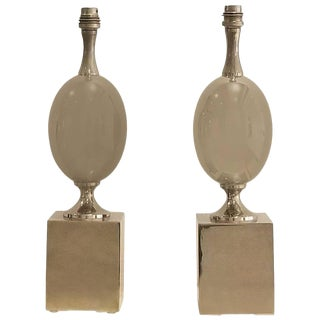 Pair of Nickel-Plated Brass Table Lamps by Philippe Barbier, France, 1970s For Sale