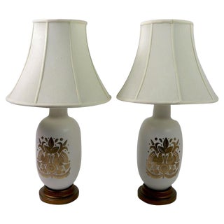 Pair of Georges Briard Gold Decorated Lamps For Sale