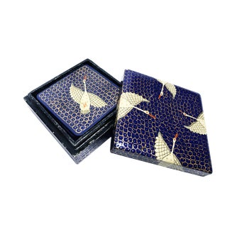 1960s Vintage Hand Painted Lacquer Coaster Set & Original Box - 7 Pieces For Sale