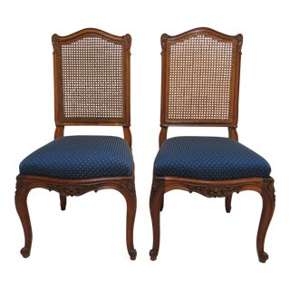 Antique French Victorian Rosewood Carved Dining Room Side Chairs - A Pair For Sale
