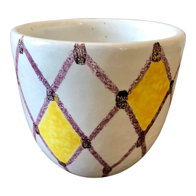 Vintage White Yellow Purple Italian Pottery Pot For Sale
