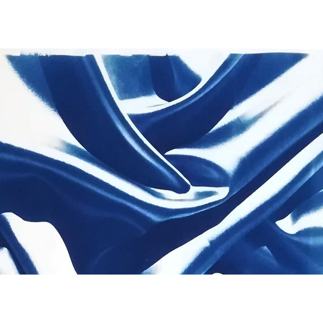 Watercolor Late Night Adventurous Duo (Of Silks), Classic Blue Handprinted Cyanotype on Watercolor Paper, Limited Edition For Sale - Image 7 of 12