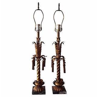 Italian Gilt Tole Lamps - Pair