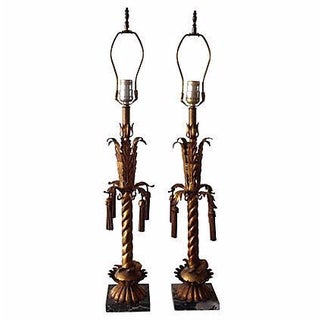 Italian Gilt Tole Lamps - Pair Final Markdown For Sale