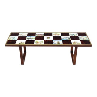 Mid Century Modern Checker Style Tile Top Coffee Table For Sale