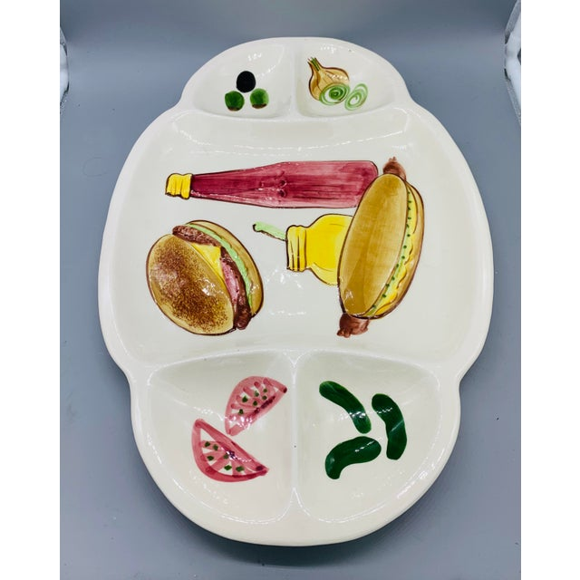 1950s Los Angeles Potteries Bbq Grill Sectional Platter/ Vintage Hamburger and Hot Dog Serving Plate For Sale - Image 5 of 11