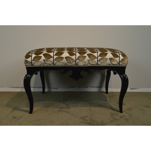 French French Louis XV Style Black Painted Large Ottoman Footstool For Sale - Image 3 of 13