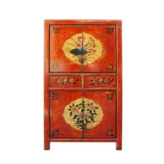Chinese Rustic Orange Two Shelves Flower Cabinet
