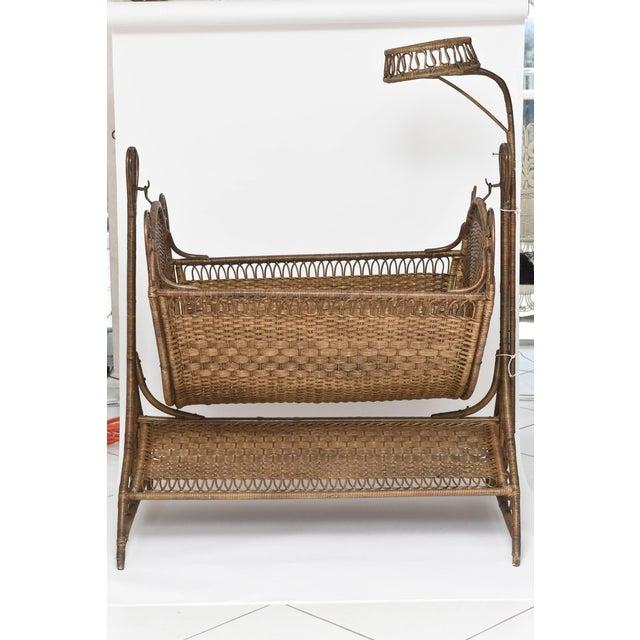 41ff938f9c86 19th Century Victorian Wicker Swinging Baby Cradle