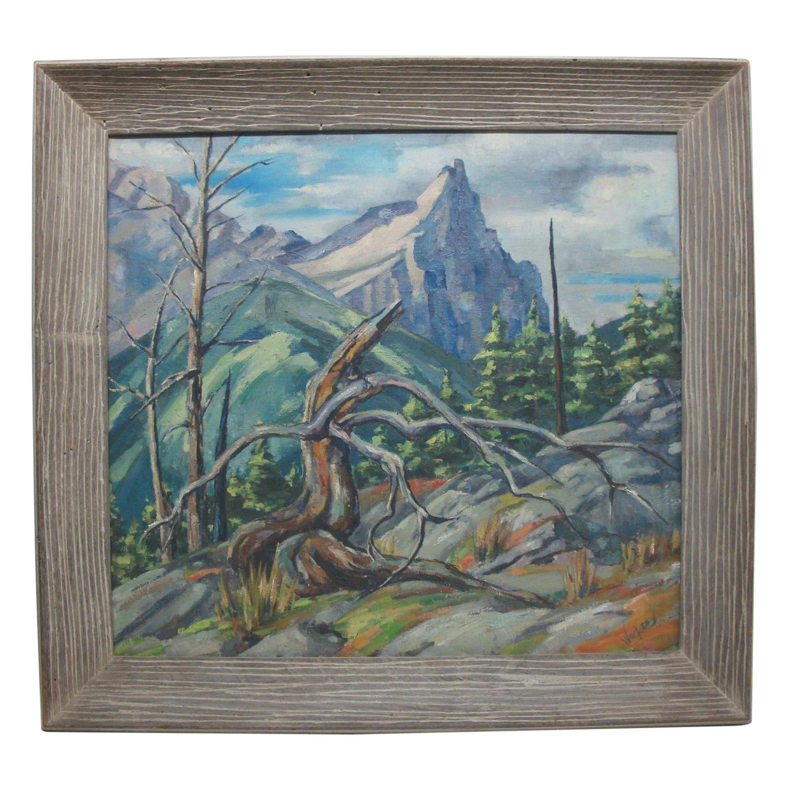 Mid Century Landscaping: Large Midcentury Mountain Landscape Oil Painting