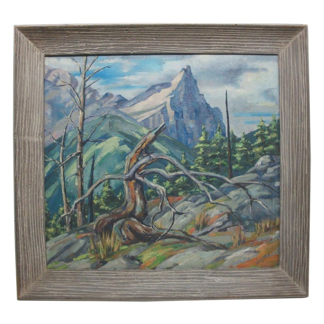 Large Midcentury Mountain Landscape Oil Painting For Sale