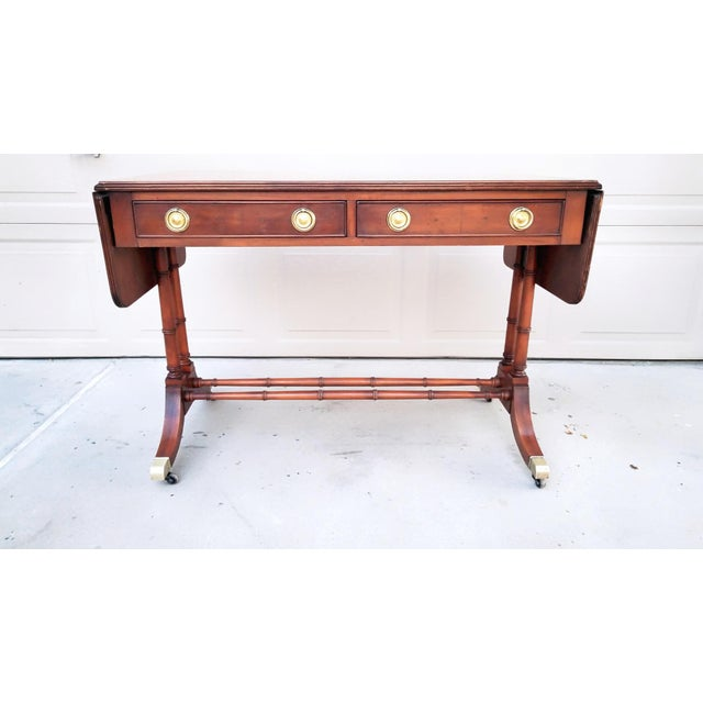 Baker Mid-Century Bamboo Drop-Leaf Table For Sale - Image 11 of 11