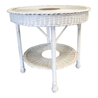 Vintage White Wicker Round Table For Sale