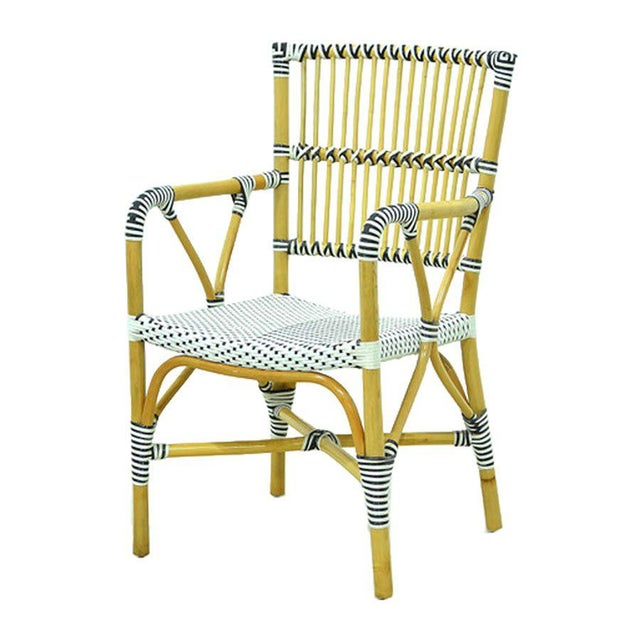 Boho Chic Modern Veranda Rattan and Synthetic Woven Armchair For Sale - Image 3 of 3