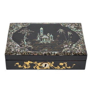 19th C. Black Lacquer Sewing Box With Mother of Pearl Inlay and Spools For Sale