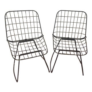 Mid 20th Century Modern Style Wire Chairs - a Pair For Sale