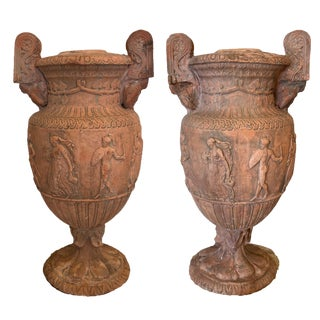19th Century Antique Terracotta Classical Terra Cotta Urns-a Pair For Sale
