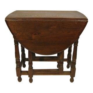 1920s Edwardian Drop Leaf Oak Table For Sale