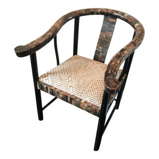 1970s Folk Art Faux-Camel Bone Yoke Chair For Sale