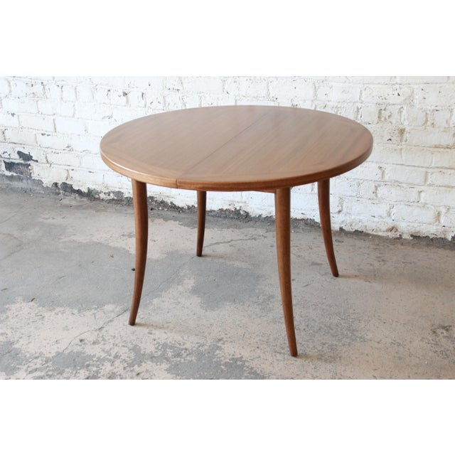 Brown Harvey Probber Mid-Century Modern Mahogany Saber Leg Extension Dining Table For Sale - Image 8 of 12