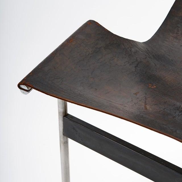 Laverne International Mid Century Katavalos for Laverne International Steel & Leather 'T-Chair' For Sale - Image 4 of 5