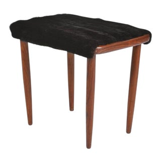 Mid-Century Modern Fur Covered Footstool For Sale